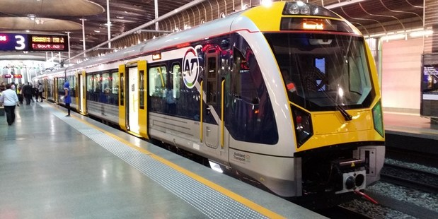 Auckland's new fleet of electric trains went into service between Onehunga and Britomart today.