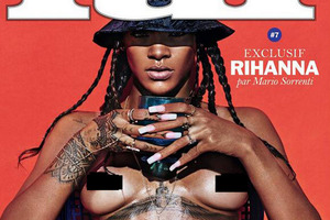 A magazine's cover image featuring a topless Rihanna was censored by Instagram.