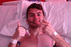 Stephen Sutton giving a 'final thumbs up' from his hospital bed. Photo / Facebook