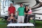 Joan (left), John and Nick Blair, Faith Adams and children Aliya and Lochlan Blair.