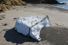 A polystyrene pollution clean-up, including these metre-thick chunks on Kahangaro Island, is continuing off Northland's east coast. Photo/Peter Beadle