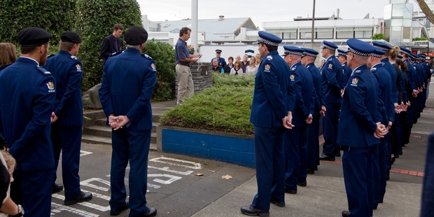 Napier Police stand to attention as they listen to an address by Dave Coal at a ceremony to remember Senior Constable Len Snee, who died in the Chaucer Rd siege five years ago. Photo/Glenn Taylor