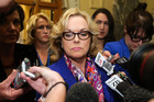 Justice Minister Judith Collins speaks to the media prior to question time at Parliament today. Photo / Getty Images