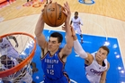 Steven Adams grabbed eight rebounds in Oklahoma's play-off win in Los Angeles yesterday. Photo / AP