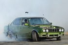 Kaikohe local Sam Main and his BMW in the burnout competition at Kaikohe on Saturday. Photo/Debbie Beadle