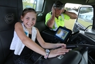 Charlotte Thurgood lets Fonterra tanker driver Mike Griffin know how loud the horn is at the school. Photo / John Stone