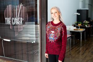 Jordan Rondel outside her new premises on K Rd, The Caker. Photo / Babiche Martens.