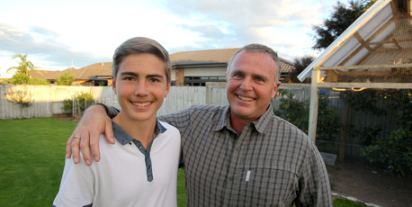 Bernard and Jaco Reyneke at their home in Papamoa. The family arrived in New Zealand in 2003. PHOTO/ RUTH KEBER