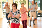 Rachel Grunwell joins an exercise class in a retirement village.