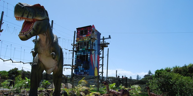 Animatronic dinosaurs at the Dinosaur Kingdom, opened at Butterfly Creek. Photo / Katie Cameron