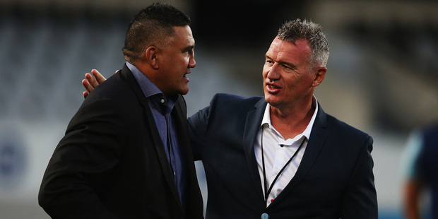 Jamie Joseph, left, and Sir John Kirwan won't be the only coaches with squeaky bums this weekend. Photo / Getty Images