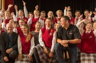 Head of Jetstar NZ Grant Kerr (left) and Flying Start judge Steve Price with the Dunstanza choir.