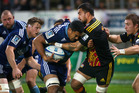 Blues player, Jerome Kaino, carries the ball up during tonights Super Rugby match between The Chiefs and The Blues played at Yarrow Stadium in New Plymouth. Photo / Alan Gibson