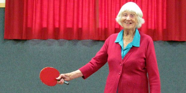 Betty Thompson started playing table tennis in 1939. Photo / Stratford Press