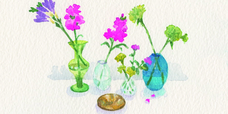 Glass vases by Clare Grove.
