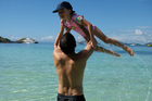 Scott Kara with his daughter Katie on the beach at Mana Island. Photo / Scott Kara
