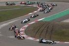Mercedes driver Lewis Hamilton of Britain leads the field into turn three at the start of the 2014 Chinese Formula One Grand Prix. Photo / AP