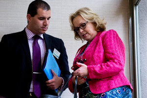 Judith Collins, seen here with MP Jamie-Lee Ross during the National Party Northern Convention at the weekend, is switching off Twitter. But for how long? Photo / Dean Purcell