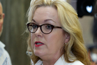 Justice Minister Judith Collins during her stand-up press conference where she revealed she had dinner with the head of Oravida while in China last year. Photo / Mark Mitchell