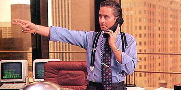 Michael Douglas as Gordon Gekko in the 1987 film Wall Street directed by Oliver Stone.