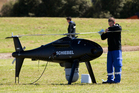 Union Pacific is exploring the use of helicopter drones similar to the ones (pictured) used by Transpower last year. Photo / NZ Herald-Greg Bowker