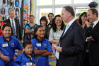 Prime Minister John Key speaks to pupils at Manaia View School about the roll out of Ultra Fast Broadband. Photo / John Stone