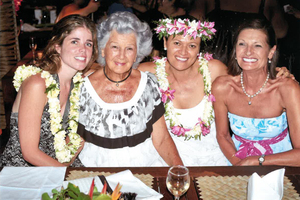 "Paddy with her ""daughters"" in Rarotonga, from left, Laura Myers, Ellena Tavioni and Michal."