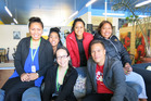 Labour Party candidate Tamati Coffey with members of the Tu Auloa Young Pacifica group in Te Puke last Thursday.