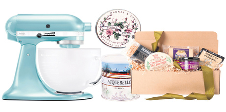KitchenAid stand mixer; Harney & Sons Mother's Bouquet floral tea tin; Acquerello Rice; Mother's Day Cheese Selection.
