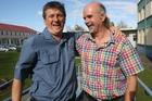 David Gates, left, meets Chris Brough yesterday. Photo / APN