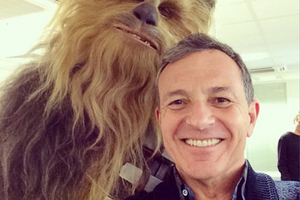 Disney chairman Bob Iger poses with Chewbacca for a Star Wars selfie. Photo/Instagram