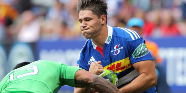 Kobus van Wyk of the Stormers squares up to the Highlander's Malakai Fekitoa. Photo / Getty Images.