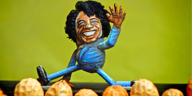 Steve Casino's peanut art figurine of James Brown. Photo: Mike Hoeting/SteveCasino.com