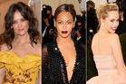 Rihanna, Katie Holmes, Beyonce and Suki Waterhouse at the Met Gala.  Photo / AP