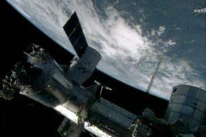 An image made from a frame grabbed from NASA-TV. Photo / AP