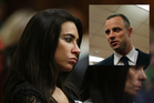 Friend of the late Reeva Steenkamp, Kim Myers, left, and Oscar Pistorius, inset. Photos / AP
