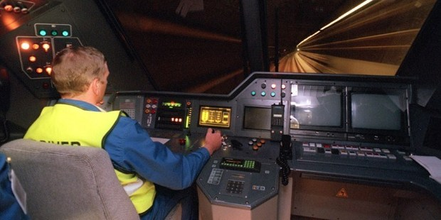 A photo from May 1994 shows a machinist driving a trans-channel shuttle during a technical trial run prior to Channel Tunnel's official opening. Photo / AFP