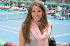 Madison McKinley, girlfriend of US player John Isner, courtside at the Heineken Open yesterday. Photo / Greg Bowker