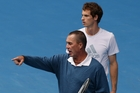 Andy Murray (right) gets advice from his coach Ivan Lendl at Rod Laver Arena in Melbourne. Photo / AP