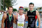 The first three elite men home in the Port of Tauranga Half , left,  Braden Currie, Cameron Brown and Mark Bowstead. Photo/George Novak