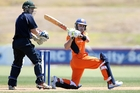 Dutch batsman Atse Buurman executes a pull shot in a game between the Netherlands national one day cricket team and a Northland selection at Whangarei's Cobham Oval yesterday. Photo/John Stone
