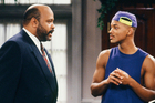 James Avery with Will Smith on the set of The Fresh Prince of Bel-Air.