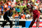 Dwayne Bravo of the West Indies bats during game five of the One Day International Series between New Zealand and the West Indies. Photo / Getty Images.
