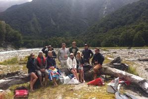 Richie McCaw (centre in grey) and Gemma Flynn (third from right) with friends near Wanaka.
