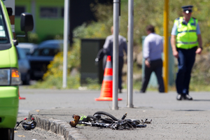 All that was left of the bike at the scene of yesterday's fatal accident. Photo / Richard Robinson