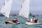 Jackson Keon (left) and Kate Stewart during the Tauranga Cup P Class yacht race off Sulphur Point yesterday. Photo/Joel Ford