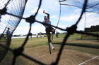 Henry Osinde of the Canadian cricket team bowls during a net session at Blake Park. Photo / Joel Ford