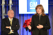 New General Motors CEO Mary Barra addresses a Town Hall meeting of employees after current Chairman and CEO Dan Akerson (left) announced he is stepping down
