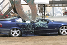 A 1995 BMW belonging to Tauranga boy racer Braedyn Clothier was crushed. Photo / Fraser Blakeway