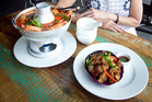 Thai fried chicken skin and tom yum prawn head broth from Thai Street restaurant. Photo / Natalie Slade